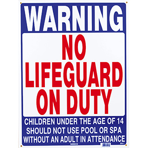 "Poolstyle No Lifeguard On Duty Sign 18"" x 24"""