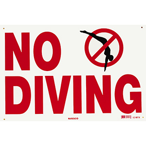 "National Stock Sign Co. No Diving Sign 18"" x 12"""
