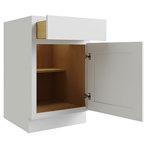 """Luxor White Single Door and Drawer Base Cabinet With Shelf, 21""""W x 24""""D"""