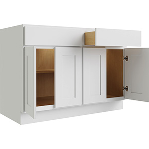 """Luxor White Four Door and Drawer Base Cabinet With Shelf, 42""""W x 24""""D"""