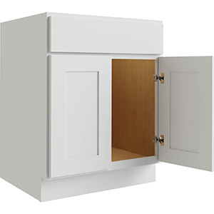 """Luxor White Two Door Sink Base Cabinet, 27""""W x 24""""D"""