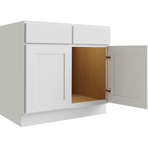 """Luxor White Two Door Sink Base Cabinet, 36""""W x 24""""D"""