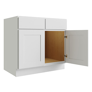 """Luxor White Two Door Sink Base Cabinet, 42""""W x 24""""D"""