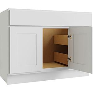 "Luxor White 2-Door/2-Drawer Vanity Cabinet, 36""W x 21""D, LU10-V3621D"