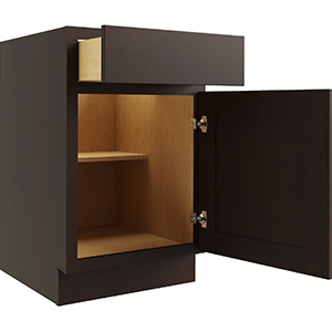 """Luxor Espresso Single Door and Drawer Base Cabinet With Shelf, 21""""W x 24""""D"""