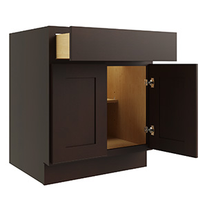 """Luxor Espresso Single Door and Drawer Base Cabinet With Shelf, 24""""W x 24""""D"""
