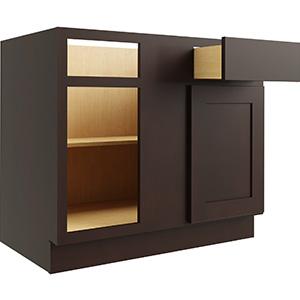 "Luxor Espresso Single Door & Drawer Blind Base Cabinet, White, 30/39""W x 24""D"
