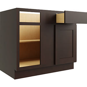 "Luxor Espresso Single Door & Drawer Blind Base Cabinet, White, 42/45""W x 24""D"