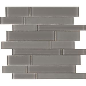 Brilliance Linear Mosaic Glass Tile, Gray