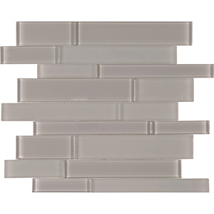 Brilliance Linear Mosaic Glass Tile, Taupe